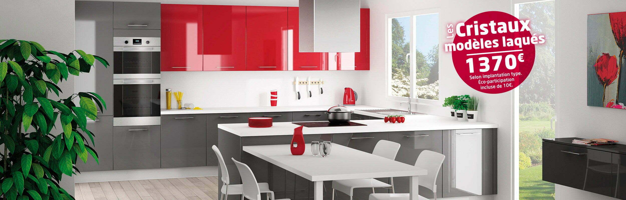 Cuisine cristal rouge anthracite idea cuisines for Les cuisines sur mesure