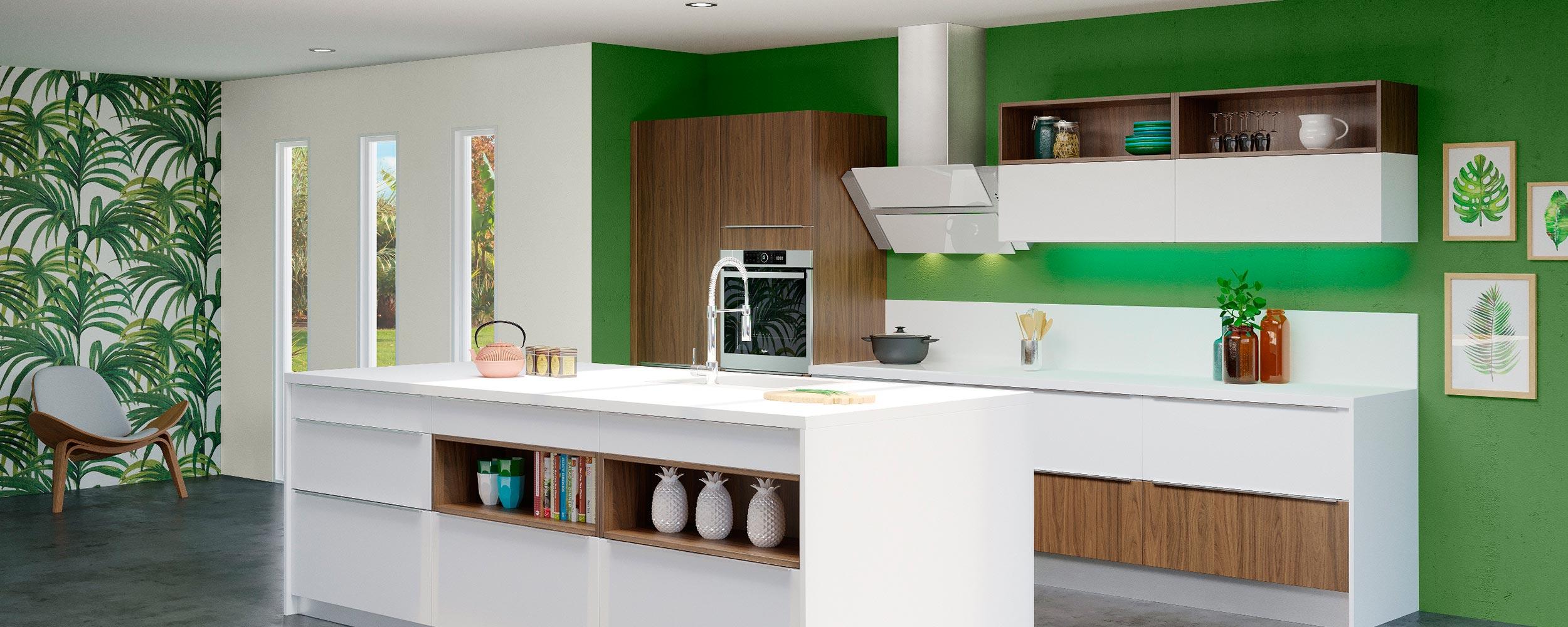 Cuisine modèle tropical / Cottage & Opale blanc