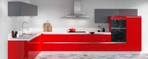 Cuisine équipée cristal rouge et anthracite