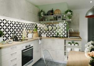 Cuisine équipée effet beton blanc