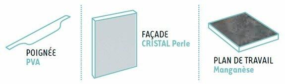 Configuration cuisine équipée moderne cristal perle