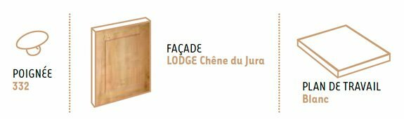 configuration cuisine équipée lodge chêne du Jura