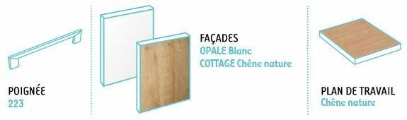 configuration idea cuisine modele opale blanc et cottage chêne nature